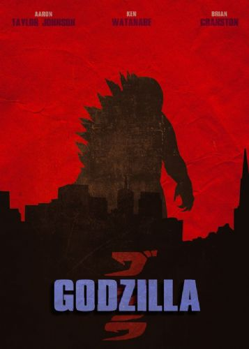 2010's Movie - GODZILLA RED CITY MINIMAL canvas print - self adhesive poster - photo print